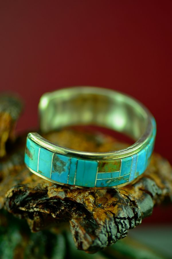 Navajo High Quality Sterling Silver Turquoise and Lab Opal Inlaid Bracelet by Lucy Cayatineto