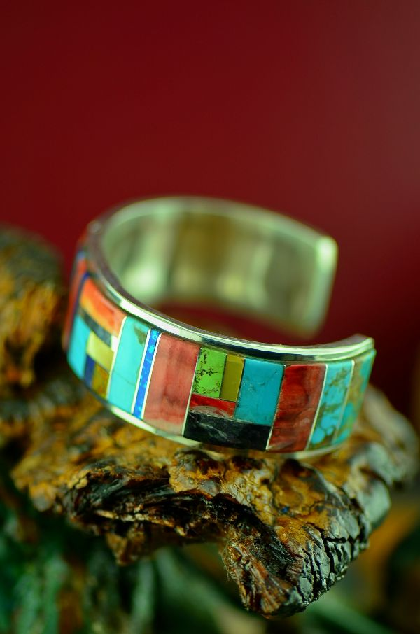 Navajo High Quality Sterling Silver Turquoise, Spiny Oyster Shell, Black Amber, Lapis, Jasper, Gaspeite, Gold Lip Mother of Pearl and Lab Opal Inlaid Bracelet by Lucy Cayatineto