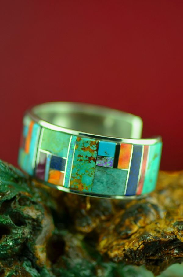 High Quality Navajo Turquoise, Spiny Oyster Shell, Lapis, Jet and Lab Opal Inlaid Bracelet by Lucy Cayatineto