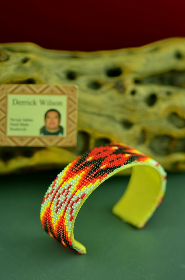 Navajo Traditional Beaded Prayer Feather Bracelet by Derrick Wilson