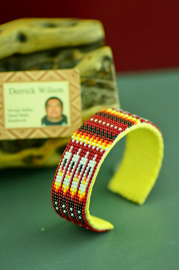 American Indian Beaded Prayer Feather Bracelet by Derrick Wilson