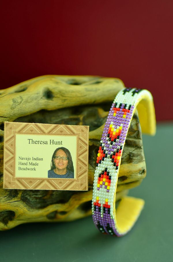 Theresa Hunt American Indian Prayer Feather Beaded Bracelet