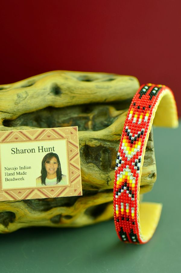 Prayer Feather Beaded Bracelet American Indian by Sharon Hunt