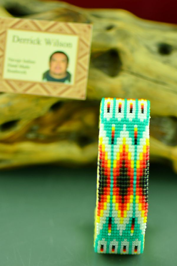 Traditional Navajo Beaded Prayer Feather Bracelet by Derrick Wilson