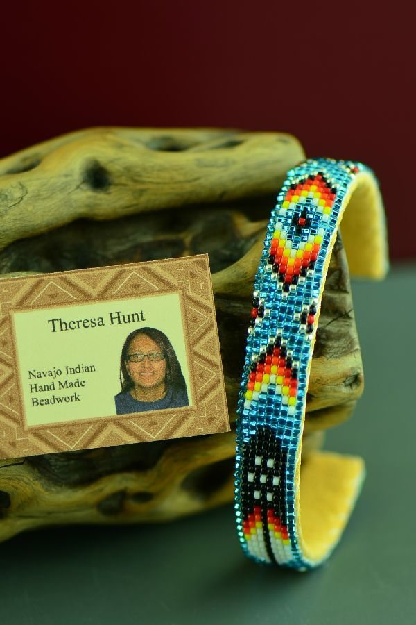 American Indian Prayer Feather Beaded Bracelet by Theresa Hunt