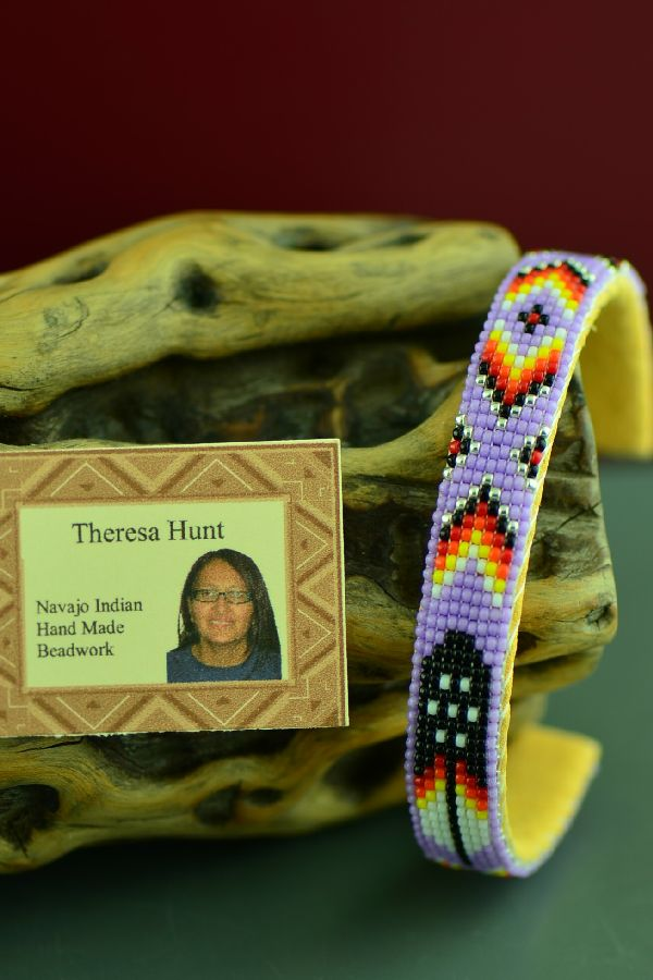 Beaded American Indian Prayer Feather Bracelet by Theresa Hunt