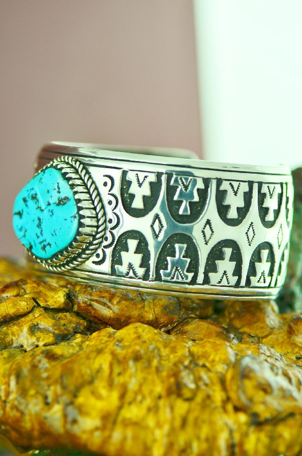 Navajo Sterling Silver Sleeping Beauty Turquoise with Mountain Symbol Bracelet by Rosita Singer