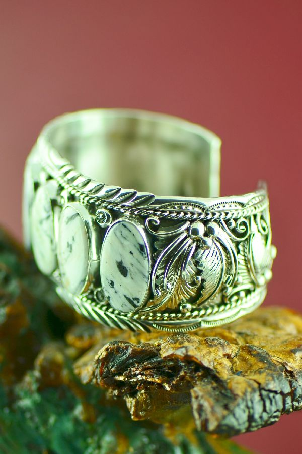 Navajo – Exquisite Sterling Silver White Buffalo Bracelet by Will Denetdale