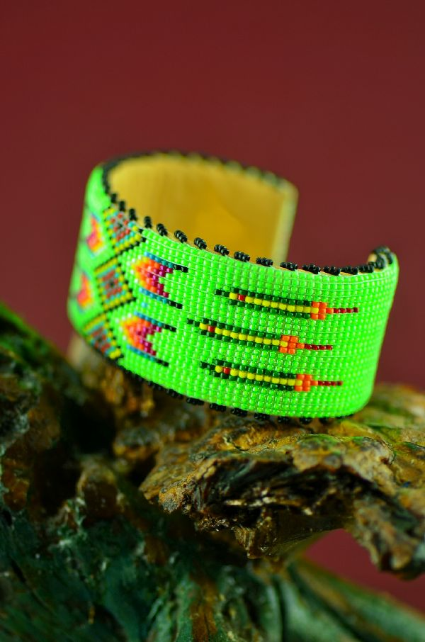 Navajo Beaded Prayer Feather Bracelet by Earl Nathaniel