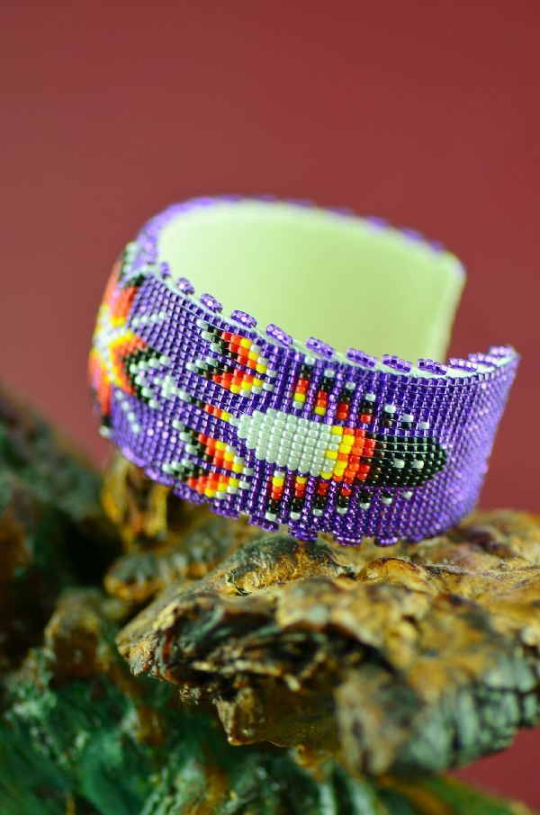 Navajo Raised Beaded Prayer Feather and Starburst Bracelet by Earl Nathaniel