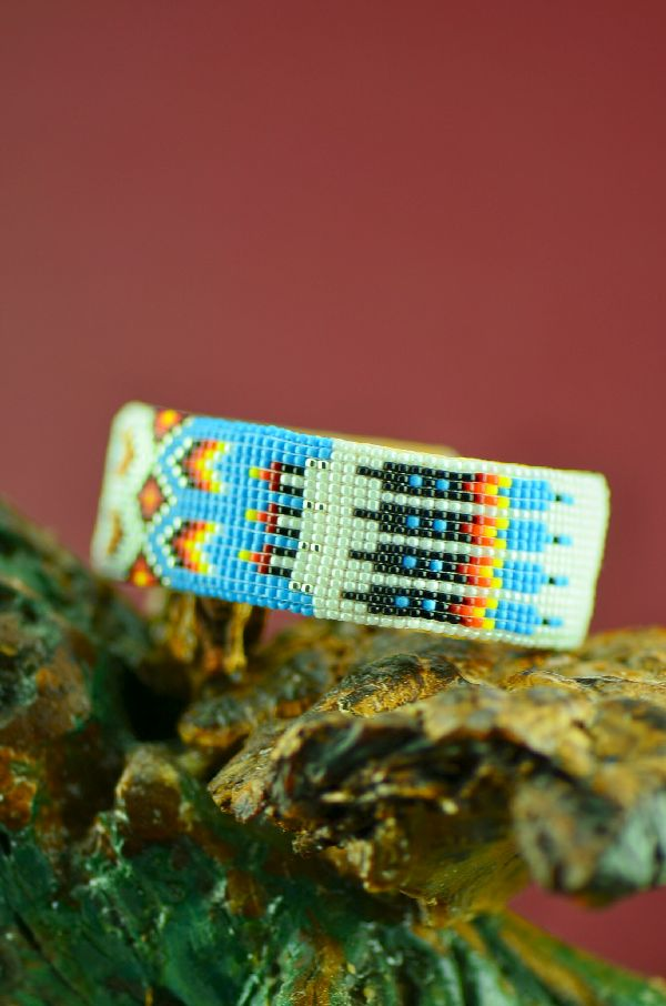 Navajo Traditional Prayer Feather Beaded Bracelet by Theresa Hunt