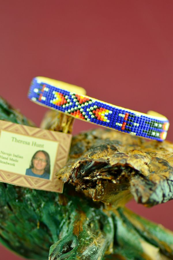 Native American Prayer Feather Beaded Bracelet by Theresa Hunt