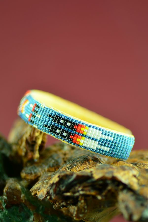 Prayer Feather American Indian Beaded Bracelet by Theresa Hunt