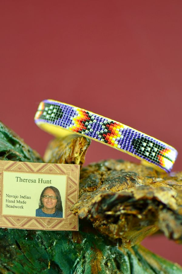 Theresa Hunt Native American Prayer Feather Beaded Bracelet