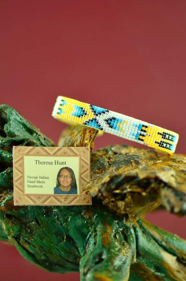 Native American Beaded Prayer Feather Bracelet by Theresa Hunt