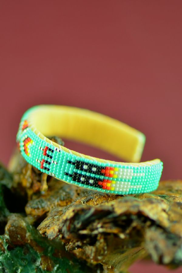 Authentic Navajo Beaded Prayer Feather Bracelet by Theresa Hunt