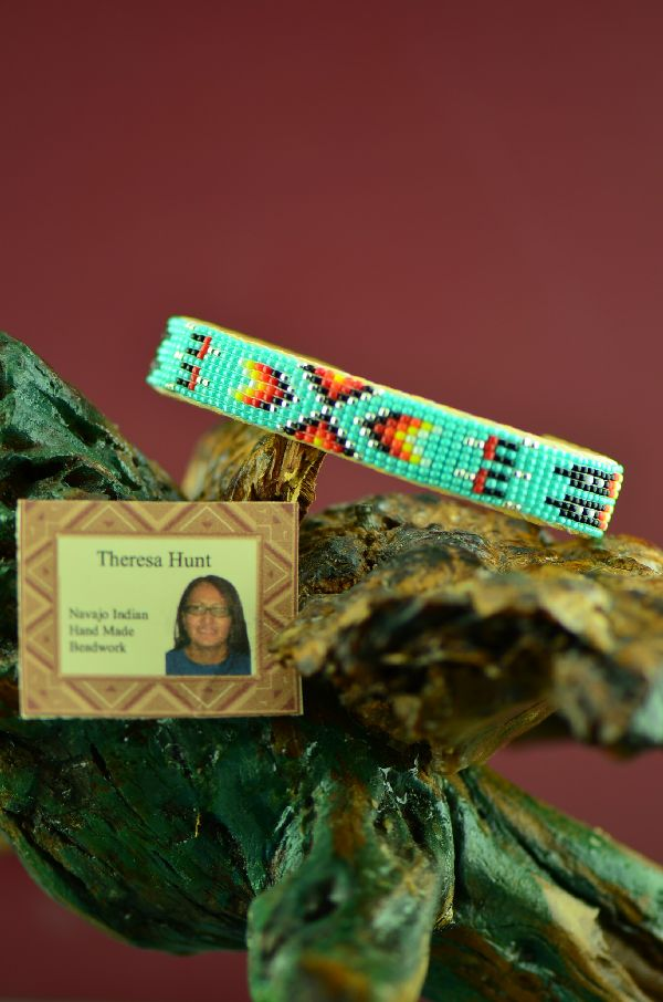 Beaded Authentic Native American Bracelet by Theresa Hunt