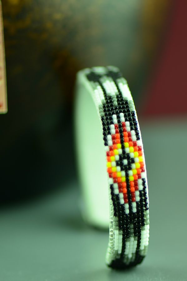 Navajo Beaded Bracelet with Prayer Feathers by Leshanda Barber