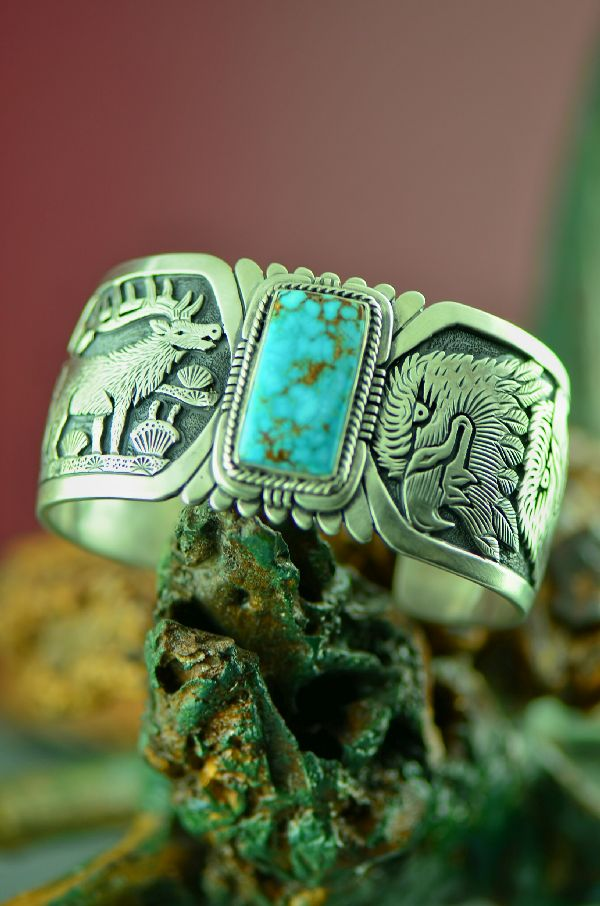 Navajo Sterling Silver Candelaria Turquoise Bracelet by Freddy Charley