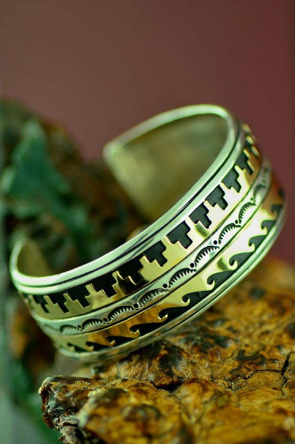 Navajo Mountain and Water Symbol Bracelet by Rosita Singer