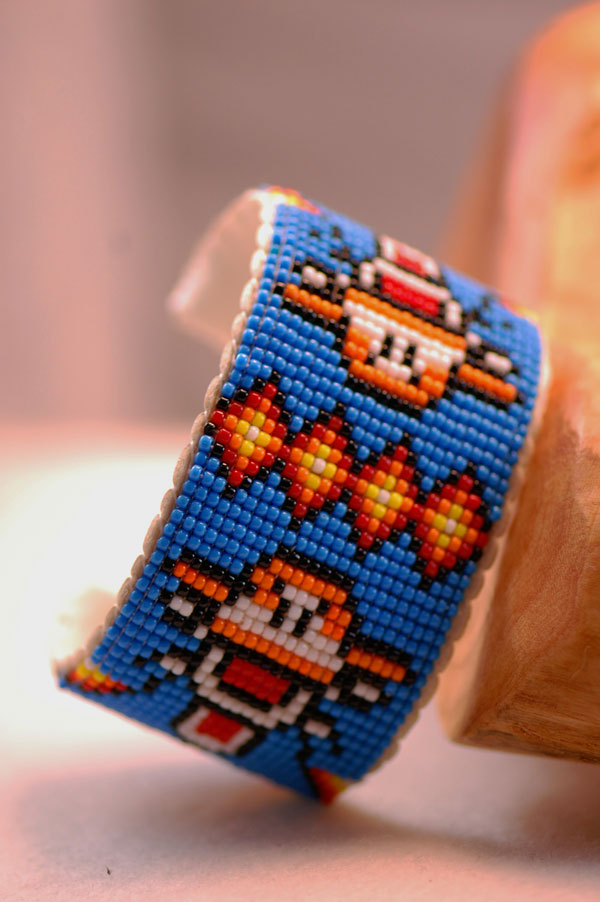 Navajo – Contemporary Multi-Colored Seed Bead Tigger Bracelet by Sylvia Spencer