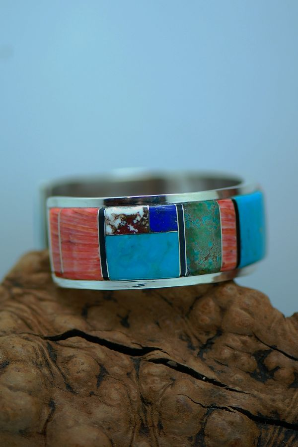 Navajo – Exquisite Inlaid Multi-Stone Bracelet by Lucy Cayatineto