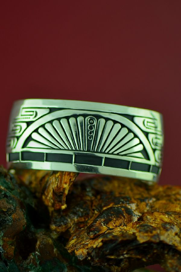 Navajo Heavy Sterling Silver Bracelet by Joanne and Felix Tsinijinnie