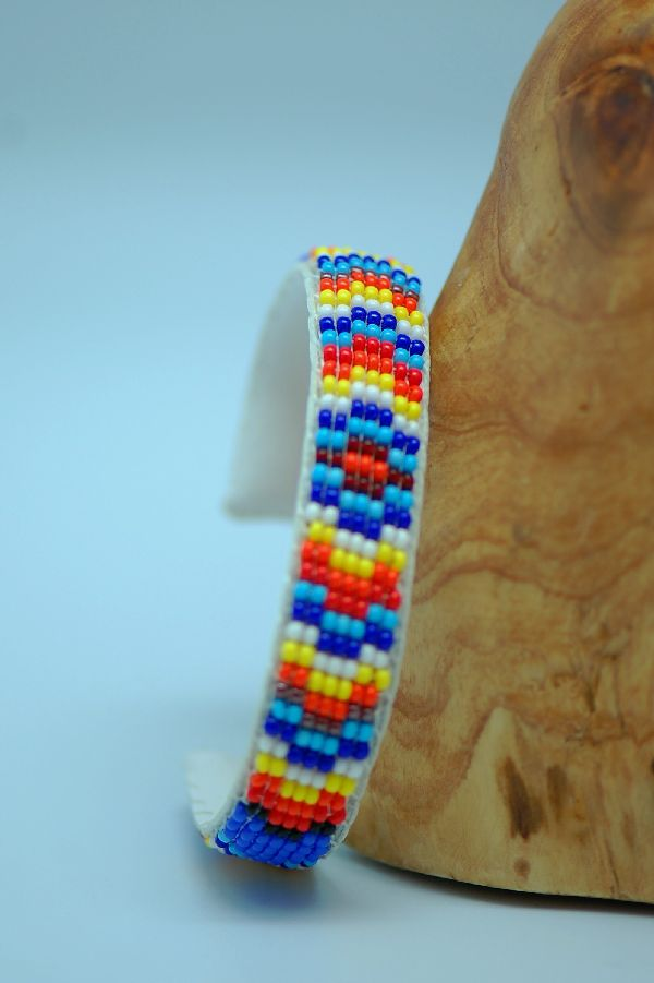 Navajo – Traditional Multi-Colored Seed Bead Bracelet by Sylvia Spencer