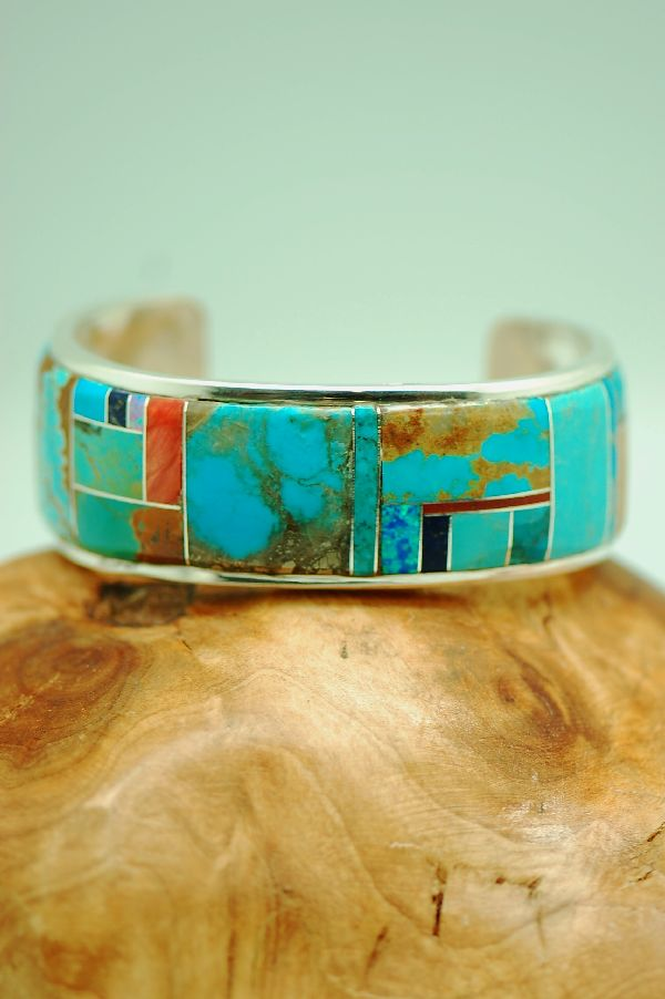Navajo – Exquisite Sterling Silver Multi-Stone Inlaid Bracelet by Lucy Cayatineto