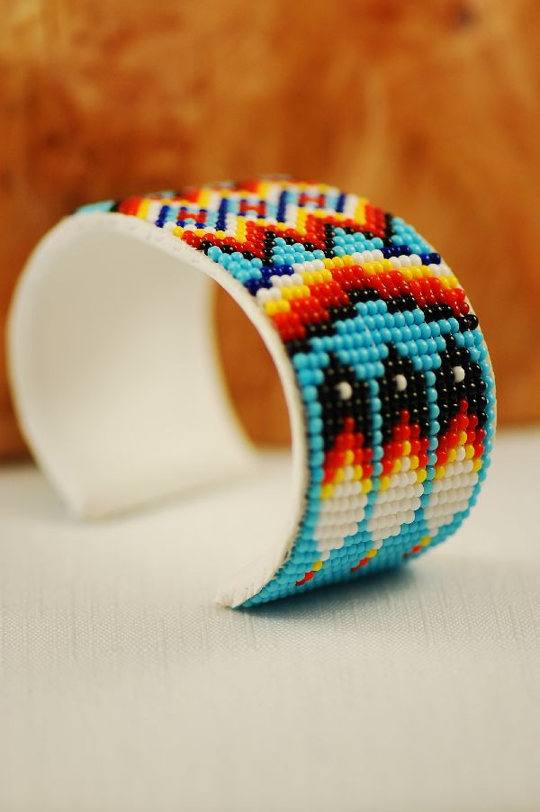 Navajo – Traditional Multi-Colored Prayer Feather Seed Bead Bracelet by Sylvia Spencer