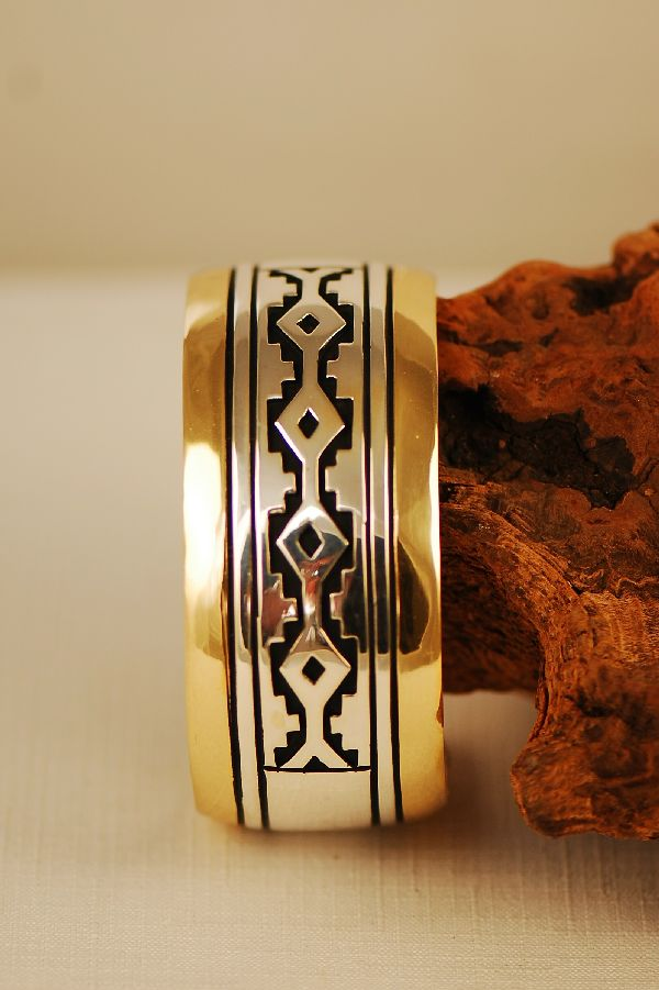 Navajo 12ktGF and Sterling Silver Rug Pattern Bracelet by the late Tommy Singer