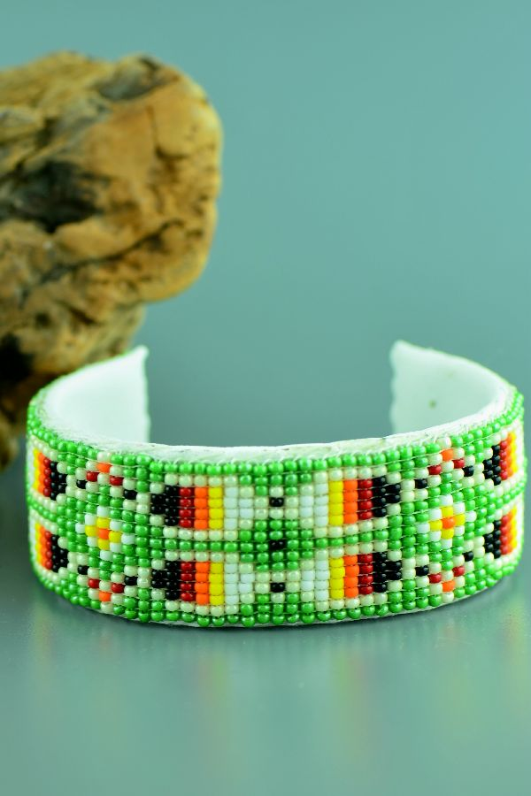 Navajo – Traditional Multi-Colored Seed Bead Prayer Feather Bracelet by Sylvia Spencer
