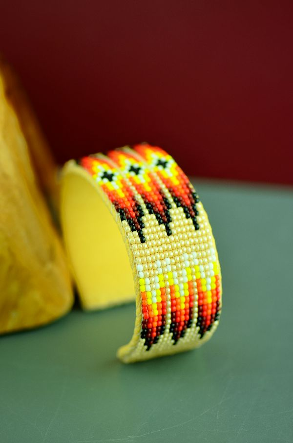 Traditional Navajo Multi-Colored Seed Bead Prayer Feather Bracelet by Sylvia Spencer