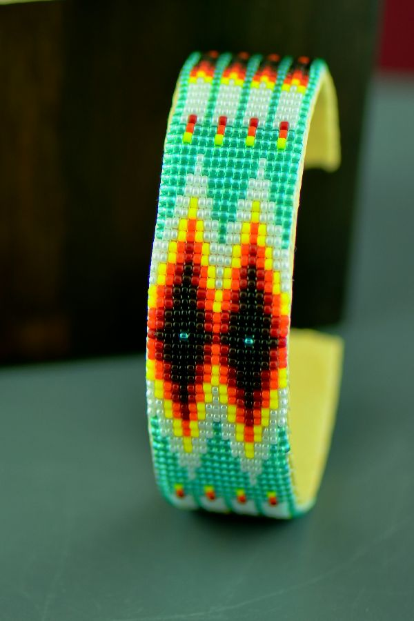 Navajo Traditional Prayer Feather Seed Bead Bracelet by Judy Wilson
