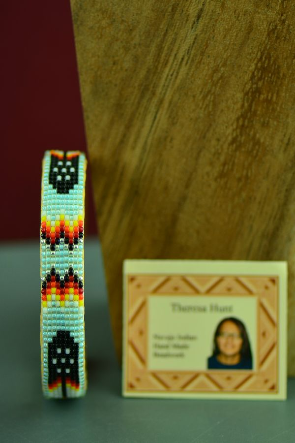 Navajo Traditional Multi-Colored Prayer Feather Seed Bead Bracelet by Theresa Hunt