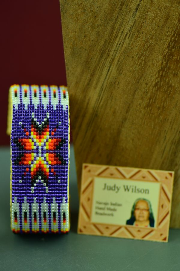 Navajo Traditional Multi-Colored Prayer Feather and Starburst Seed Bead Bracelet by Judy Wilson