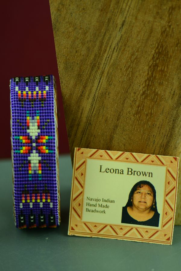 Navajo Traditional Multi-Colored Starburst and Prayer Feather Seed Bead Bracelet by Leona Brown