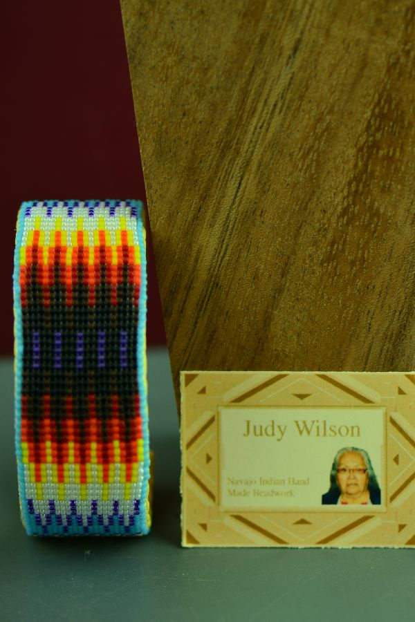 Navajo Beaded Prayer Feather Traditional Multi-Colored Bracelet by Judy Wilson