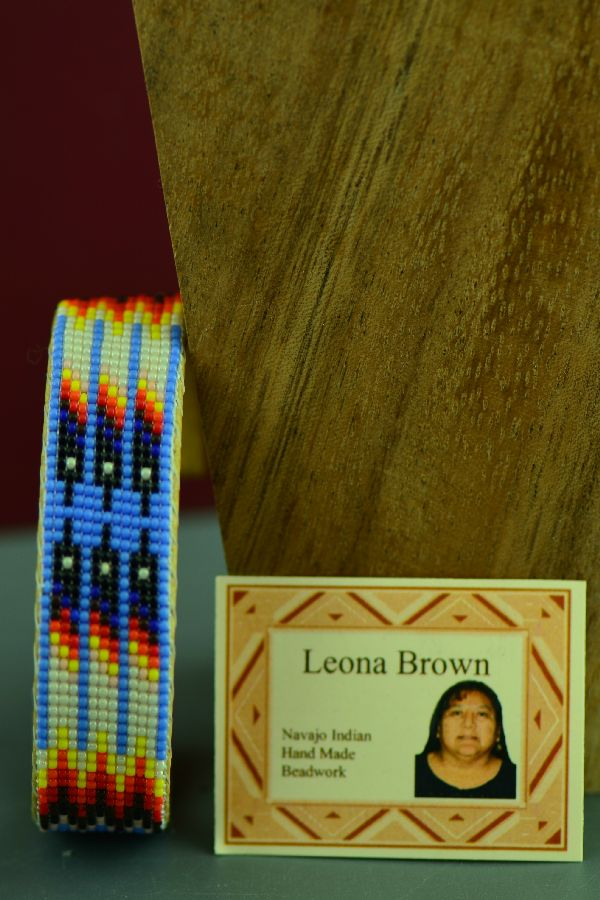Navajo Beaded Prayer Feather Seed Bead Bracelet by Leona Brown