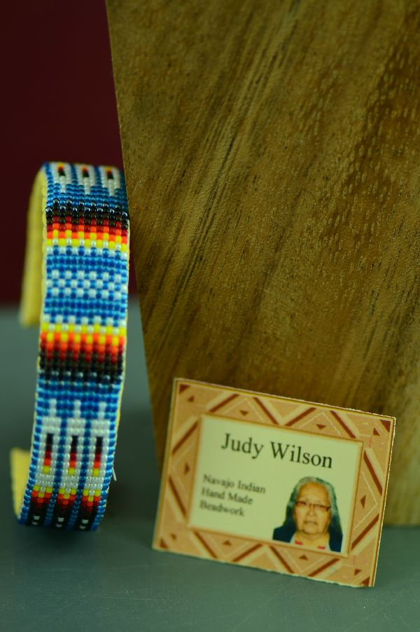 Navajo Traditional Beaded Prayer Feather Bracelet by Judy Wilson