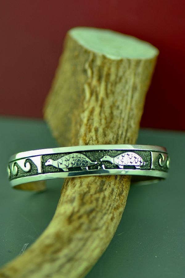 Navajo Sterling Silver Turtle and Water Bracelet by Tommy and Rosita Singer