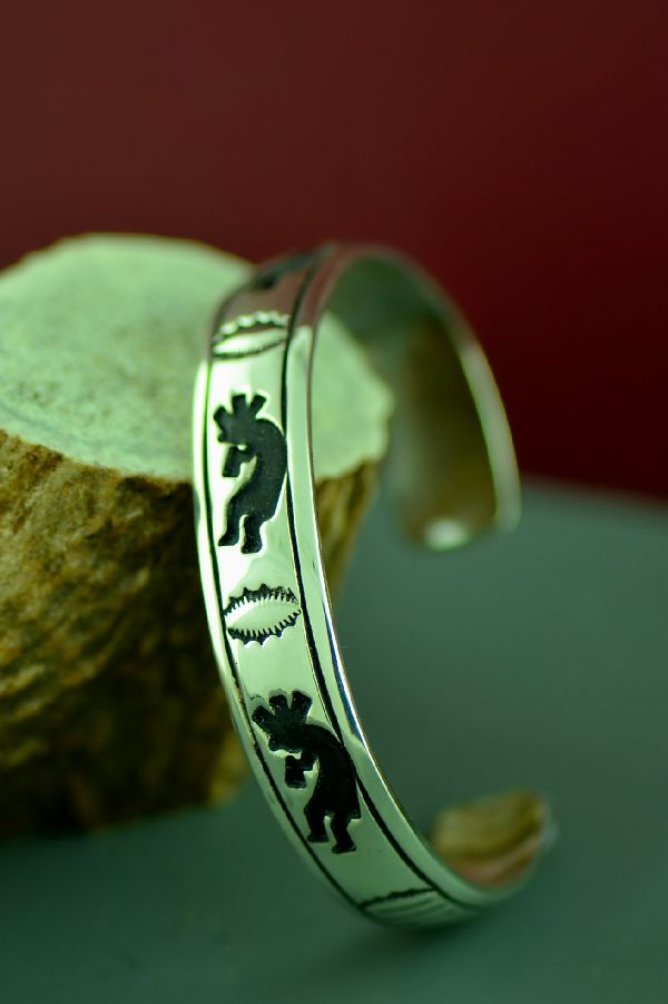 Navajo Sterling Silver Kokopelli Bracelet by Tommy and Rosita Singer