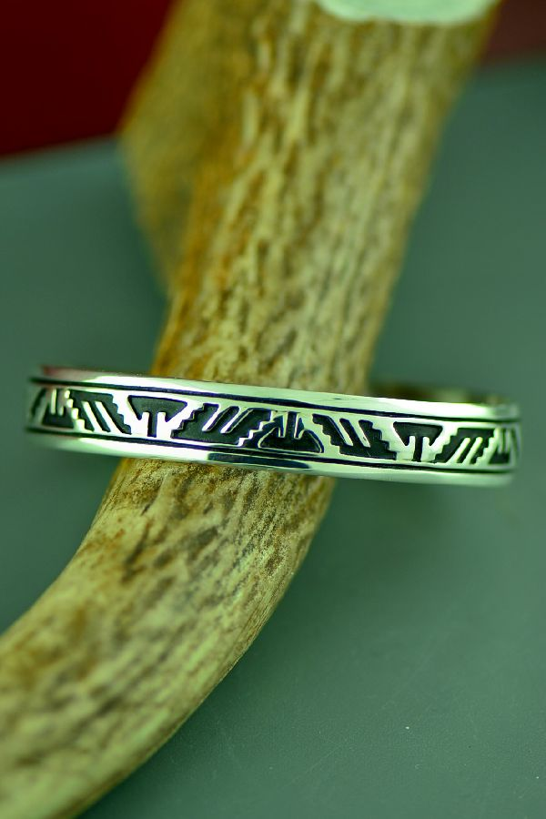 Navajo Sterling Silver Mountain, Wind and Arrow Symbol Bracelet by Tommy and Rosita Singer