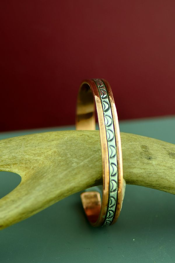 Navajo Sterling Silver and Copper Sun Symbol Bracelet by Wylie Secatero