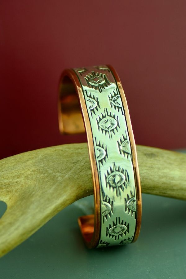 Navajo Sterling Silver and Copper Starburst Symbol Bracelet by Wylie Secatero