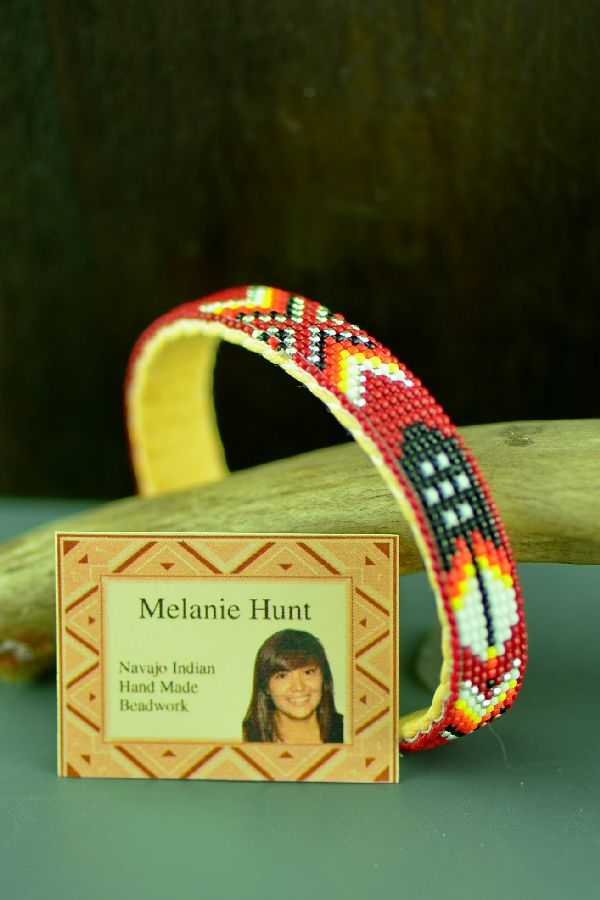 Navajo Traditional Prayer Feather Seed Bead Bracelet by Melanie Hunt