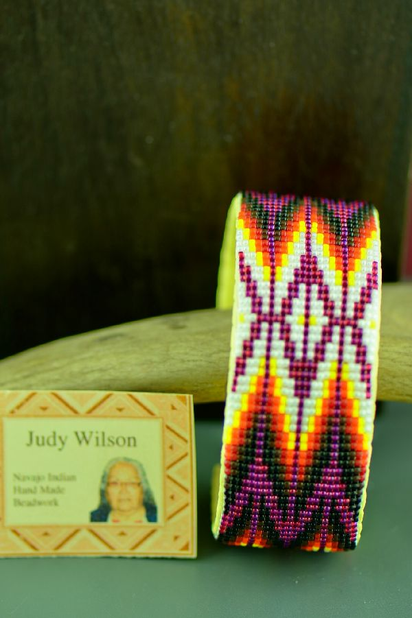 Navajo Traditional Multi-Colored Seed Bead Bracelet by Judy Wilson