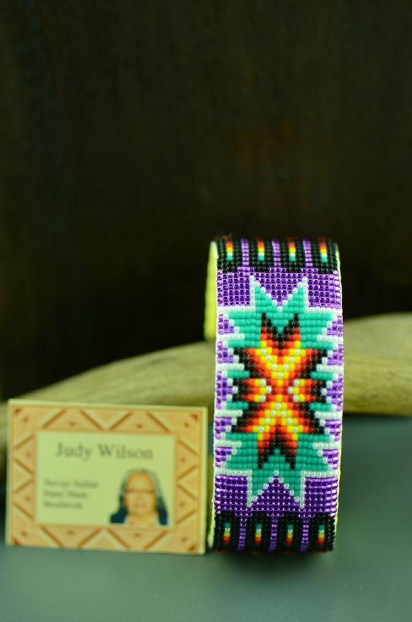 Navajo Traditional Starburst and Prayer Feather Seed Bead Bracelet by Judy Wilson