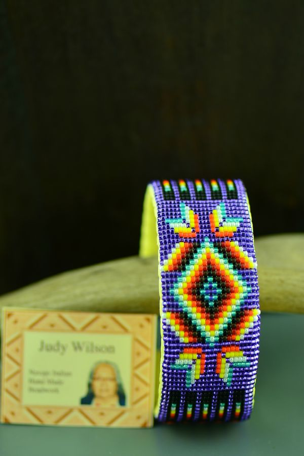 Navajo Traditional Starburst and Prayer Feather Beaded Bracelet by Judy Wilson