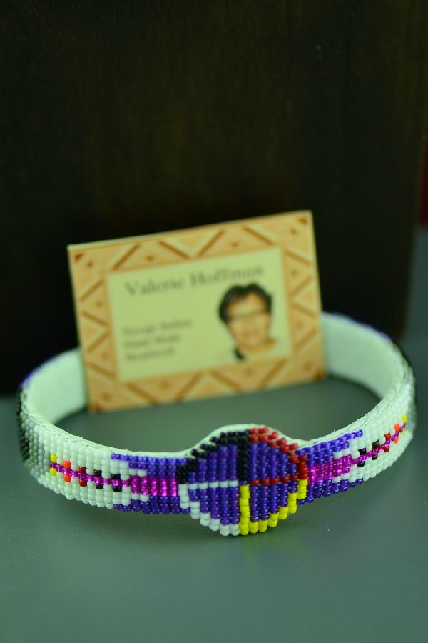 Navajo Traditional Medicine Wheel and Prayer Feather Seed Bead Bracelet by Valerie Hoffman